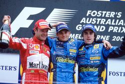 Podium: Race winner Giancarlo Fisichella, Renault F1 Team, second place Rubens Barrichello, Ferrari, third place Fernando Alonso, Renault F1 Team