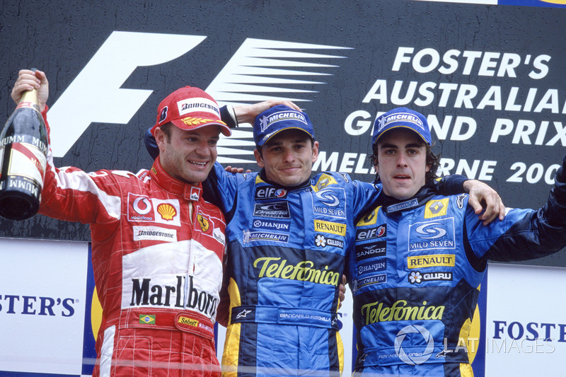 Podio: il vincitore della gara Giancarlo Fisichella, Renault F1 Team, il secondo classificato Rubens Barrichello, Ferrari, il terzo classificato Fernando Alonso, Renault F1 Team