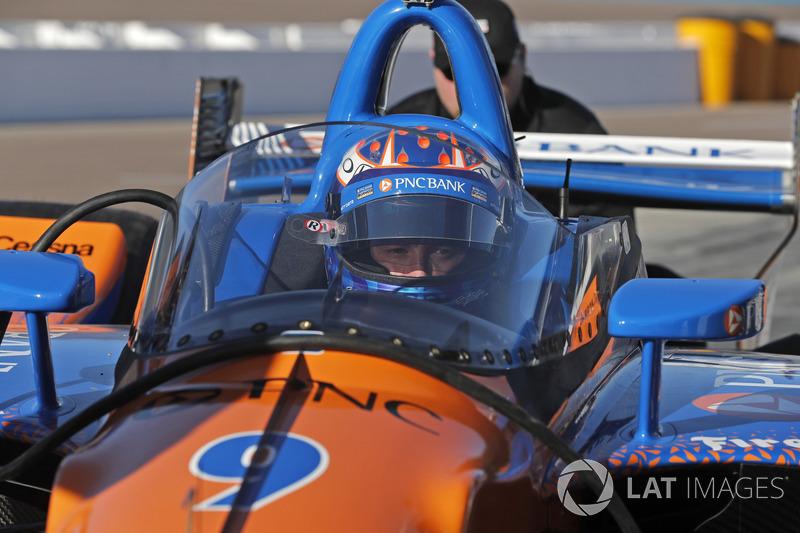 Скотт Диксон, Chip Ganassi Racing Honda, с установленной системой «аэроскрин»