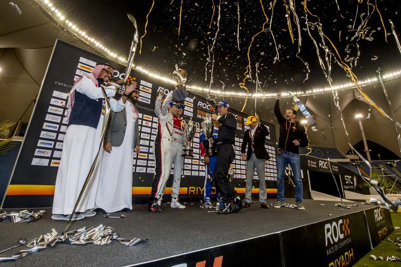 Podio: i vincitori della Nationcup Timo Bernhard, René Rast, al secondo posto Juan Pablo Montoya, Helio Castroneves