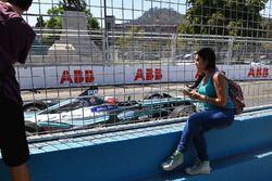Fans watch Nelson Piquet Jr., Jaguar Racing