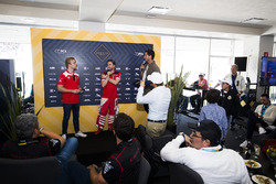 Felix Rosenqvist, Mahindra Racing & Nick Heidfeld, Mahindra Racing during a driver Q&A in EMOTION cl