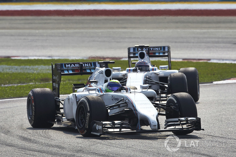 Felipe Massa, Williams FW36 Mercedes, leads Valtteri Bottas, Williams FW36 Mercedes