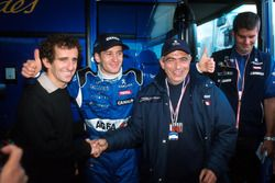 Alain Prost, left and Jarno Trulli celebrate their second place