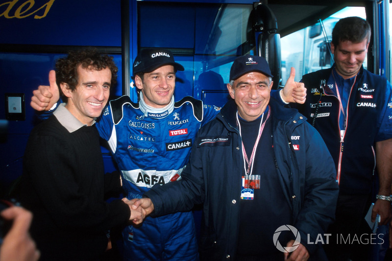Ален Прост и Ярно Трулли после подиума на Гран При Европы 1999 года