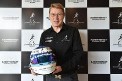 Mika Hakkinen with his helmet