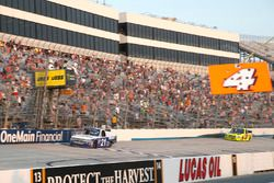 Johnny Sauter, GMS Racing, Chevrolet Silverado Allegiant Airlines takes the checkered flag to win the race