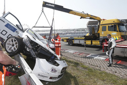 The car of Yvan Muller, YMR Hyundai i30 N TCR after the crash