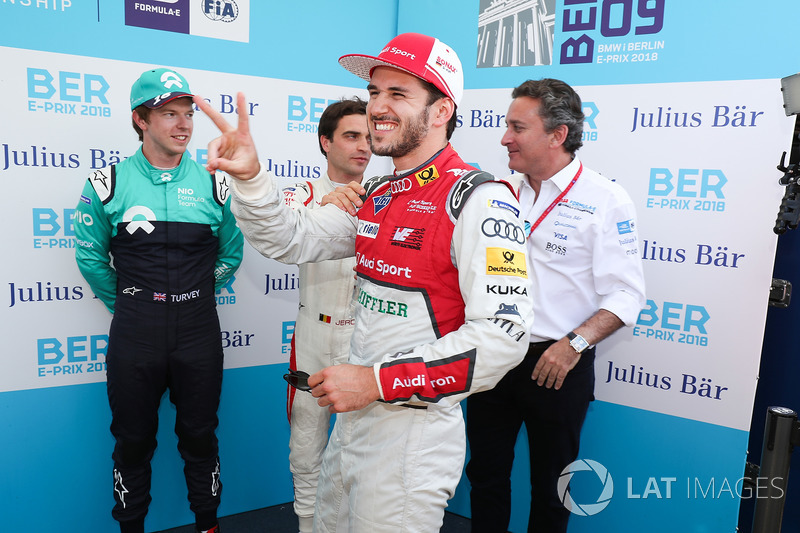 Daniel Abt, Audi Sport ABT Schaeffler, celebrates his pole position