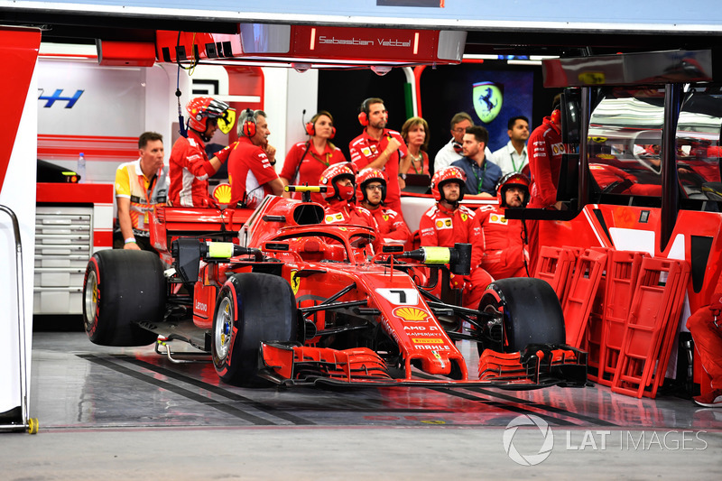 The car of race retiree Kimi Raikkonen, Ferrari SF71H in the garage