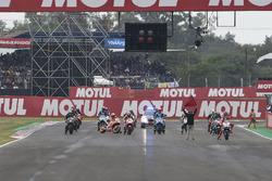 Marc Marquez, Repsol Honda Team re starting the bike on the grid