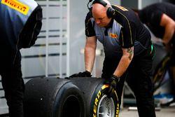 Pirelli engineers work on some tyres
