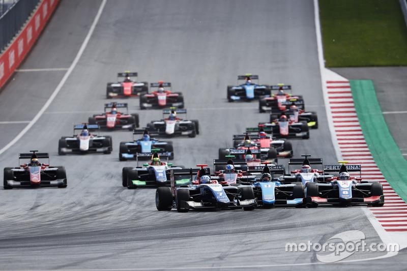 Ryan Tveter, Trident David Beckmann, Jenzer Motorsport et Giuliano Alesi, Trident se sont accrochés au départ