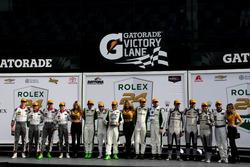Podium GTD: Race winner #28 Alegra Motorsports Porsche 911 GT3 R: Daniel Morad, Jesse Lazare, Carlos
