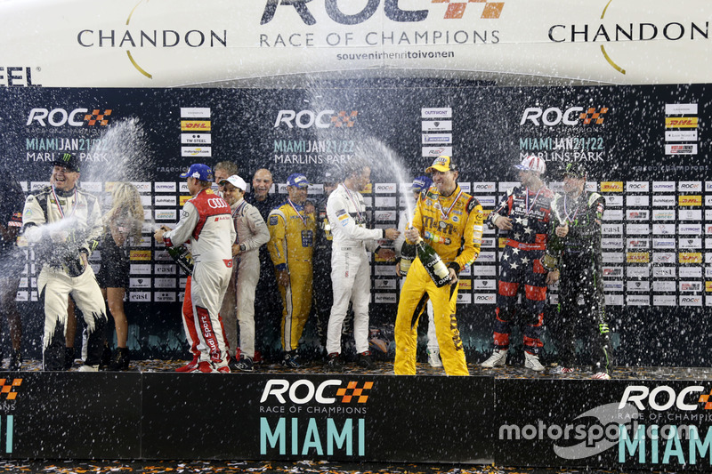 Champagne shower on the podium