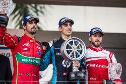 Podium : le vainqueur Sébastien Buemi, Renault e.Dams, deuxième place Lucas di Grassi, ABT Schaeffler Audi Sport, troisième place Nick Heidfeld, Mahindra Racing
