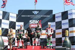 Podyum: Yarış galibi Jonathan Rea, Kawasaki Racing, 2. Tom Sykes, Kawasaki Racing, 3. Chaz Davies, D