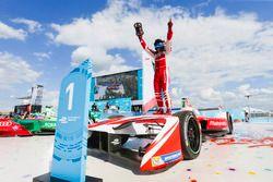 Felix Rosenqvist, Mahindra Racing, celebrates after winning the race