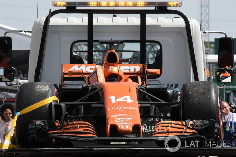 The car of race retiree Fernando Alonso, McLaren MCL32