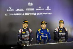 Conferencia de prensa: ganador de la carrera Nicholas Latifi, DAMS, segundo lugar Luca Ghiotto, RUSSIAN TIME, tercer lugar Artem Markelov, RUSSIAN TIME