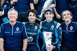 Jean-Paul Driot avec Nicolas Prost, Renault e.Dams, Sébastien Buemi, Renault e.Dams, et Alain Prost