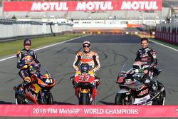 2016 World Champions Brad Binder, Red Bull KTM Ajo, KTM, Marc Marquez, Repsol Honda Team, Johann Zar