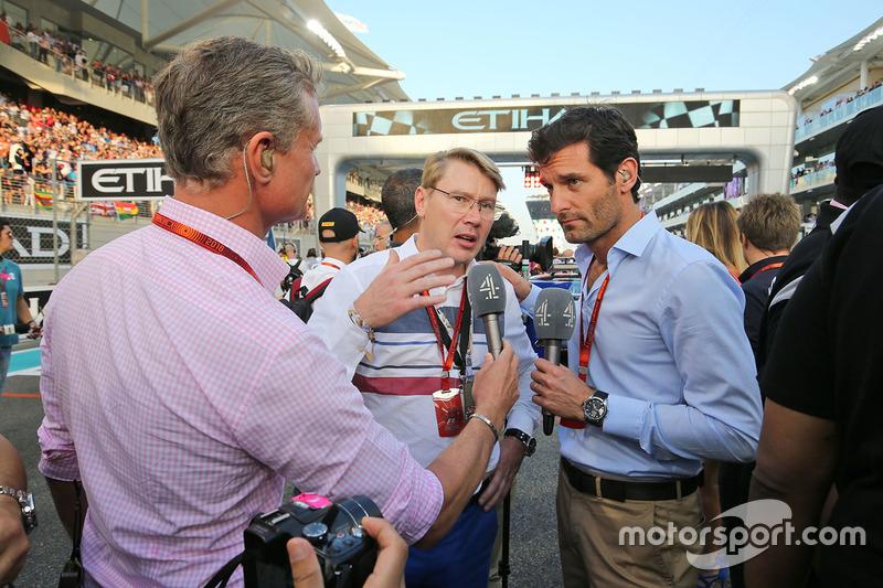 David Coulthard, Red Bull Racing y Scuderia Toro Asesor/ Chanal 4 F1 Comentarista con Mika Hakkinen, y Mark Webber, Chanal 4 Presentador