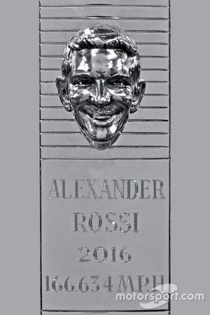 2016 Indianapolis 500 winner Alexander Rossi's sterling silver image on the Borg-Warner Trophy