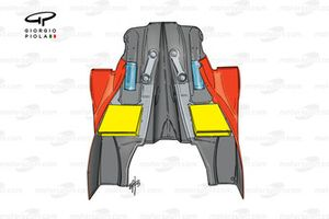 Ferrari F399 sidepod and engine cover bodywork (hot air outlets highlighted in yellow) - Italian GP
