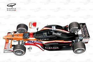 Arrows A20 side view (suspension panel removed)