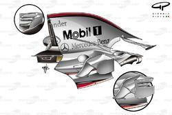 McLaren MP4-23 2008 engine cover and sidepod wing detail