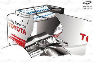 El alerón trasero del Toyota TF109 en Monza 2009