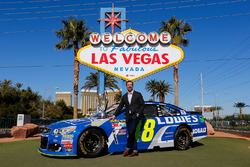 Crew chief Chad Knaus in front of the Welcome to Fabulous Las Vegas sign