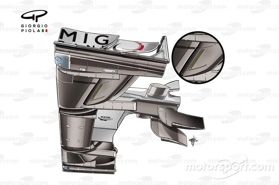Parte inferior del alerón delantero del Mercedes W03 (nótese el orificio)