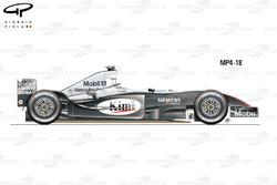 Vue latérale de la McLaren MP4-18