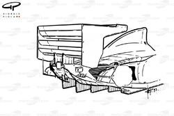 Williams FW15C 1993, vista dell'ala posteriore e del diffusore