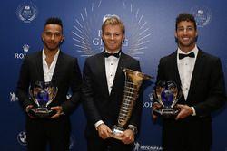 Lewis Hamilton, wereldkampioen Nico Rosberg en Daniel Ricciardo