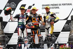 Podium: second place Pol Espargaro, Race winner Marc Marquez, third place Thomas Luthi