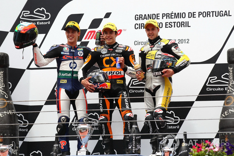 Le podium du GP du Portugal 2012 de Moto2 : Marc Márquez, Pol Espargaró, Thomas Lüthi