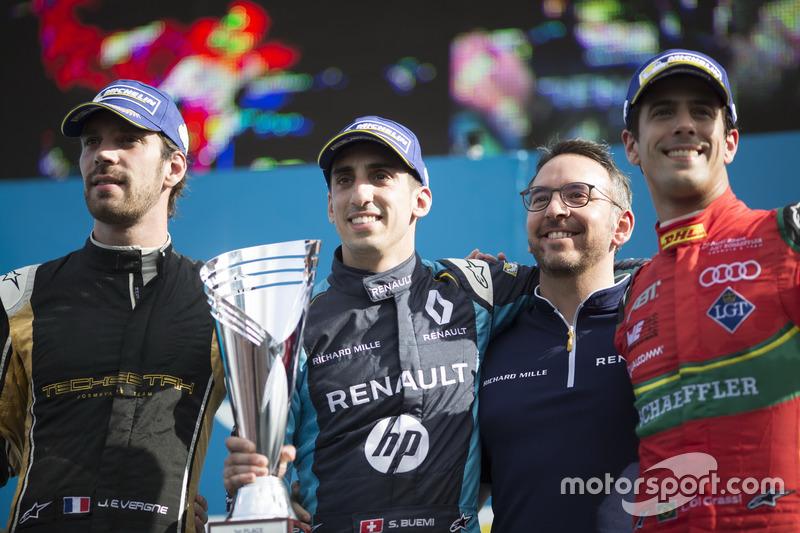 Podium : le vainqueur Sébastien Buemi, Renault e.Dams, le deuxième, Jean-Eric Vergne, Techeetah; le troisième, Lucas di Grassi, ABT Schaeffler Audi Sport