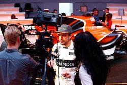 Fernando Alonso, McLaren, is interviewed by the media