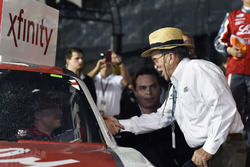 Ryan Reed, Roush Fenway Racing Ford celebrates his win in Victory Lane with Jack Roush