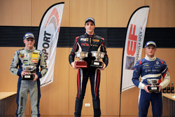 Podium race 1: Race winner Yan Leon Shlom, Fortec Motorsports; second place Jannes Fittje, Fortec Motorsports; third place Nikita Troitskiy, Drivex