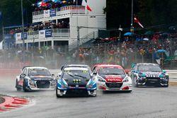 Johan Kristoffersson, PSRX Volkswagen Sweden, VW Polo GTi, Sebastien Loeb, Team Peugeot-Hansen, Peug