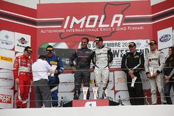 Podio GT3 gara 2, Magnoni-Rangoni (Audi Sport Italia,Audi R8 LMS-GT3 #98), Bontempelli-Niboli (MP1 C