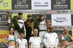 Podium: Race winner Laurens Vanthoor, Audi Sport Team WRT Audi R8 LMS; second place Kévin Estre, Manthey Racing Porsche 911 GT3-R; third place Maro Engel, Mercedes-AMG Driving Academy Mercedes-AMG GT3