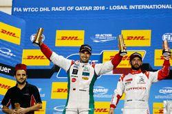 Podium: Race winner Mehdi Bennani, Sébastien Loeb Racing, Citroën C-Elysée WTCC; third place José Ma