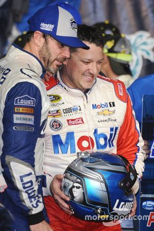 2016 Champion and race winner Jimmie Johnson, Hendrick Motorsports Chevrolet, Tony Stewart, Stewart-