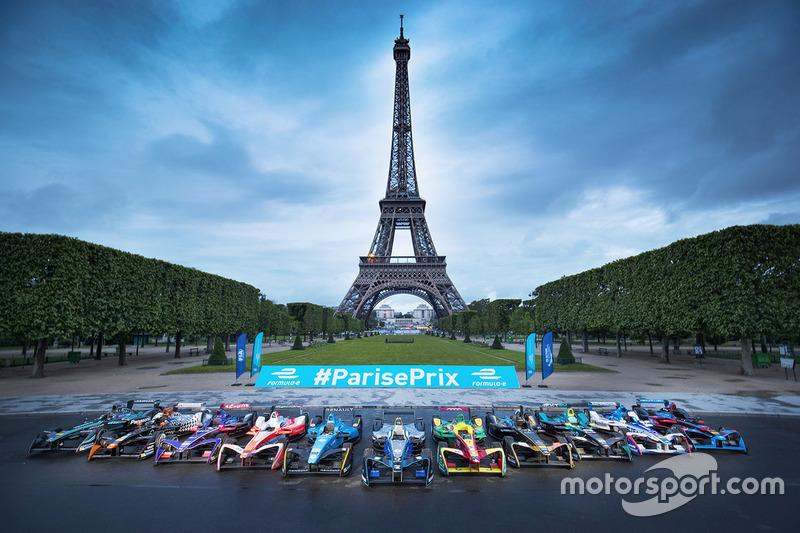Formula E cars lined-up