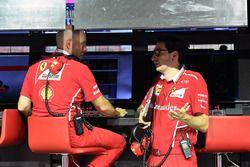 Jock Clear, Ferrari Chief Engineer and Mattia Binotto, Ferrari Chief Technical Officer on the pitwal